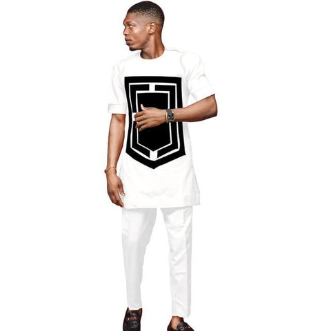 African Men Senator Style Dashiki Short Sleeve 2-Piece Set  Y31837