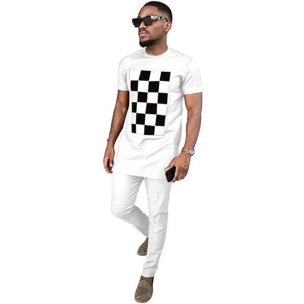 African Men Dashiki Short Sleeve 2-Piece Set Senator Style Y31834
