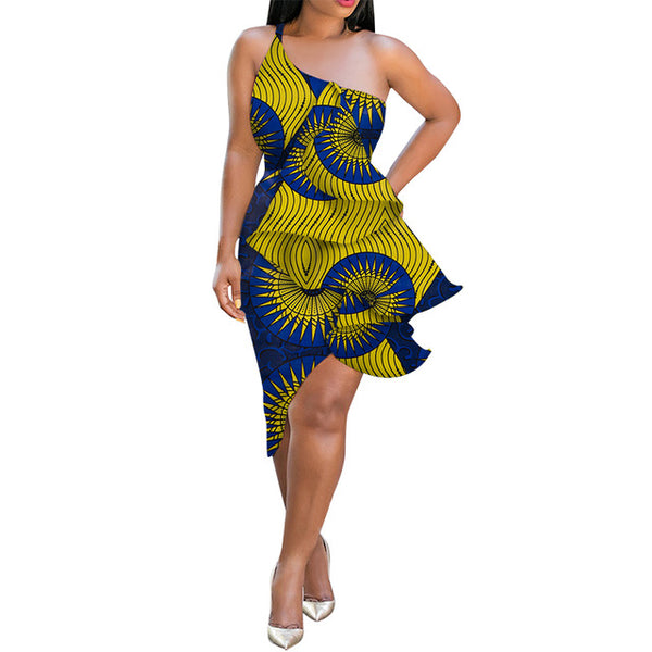 African Cotton Dashiki Wax Print Pattern Ankara Sexy Short Dress for Women X11967
