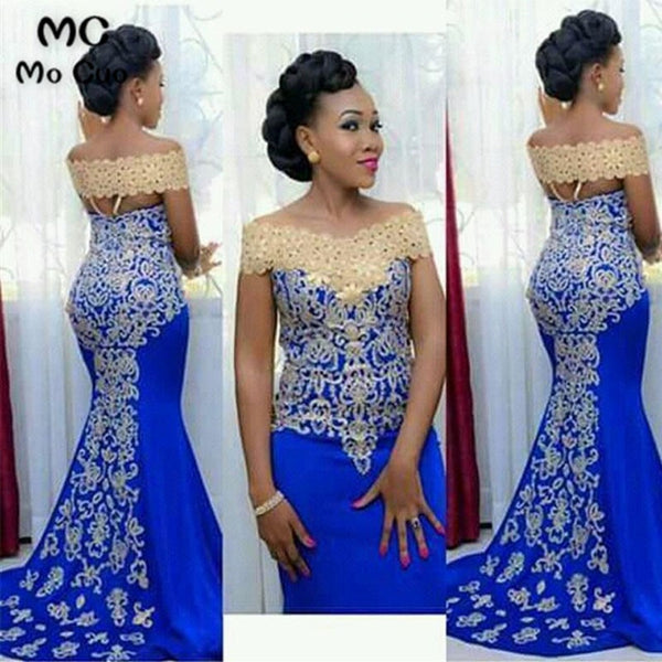 Women Blue Mermaid Prom Evening Dress with Gold Embroidery Floor Length X12041