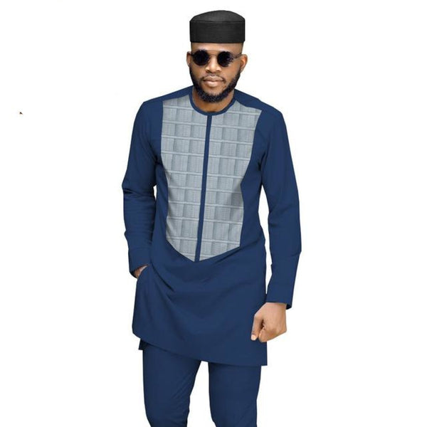 Dashiki African Men Senator Jacquard Patchwork Shirt Pants Set No Hat Y31894