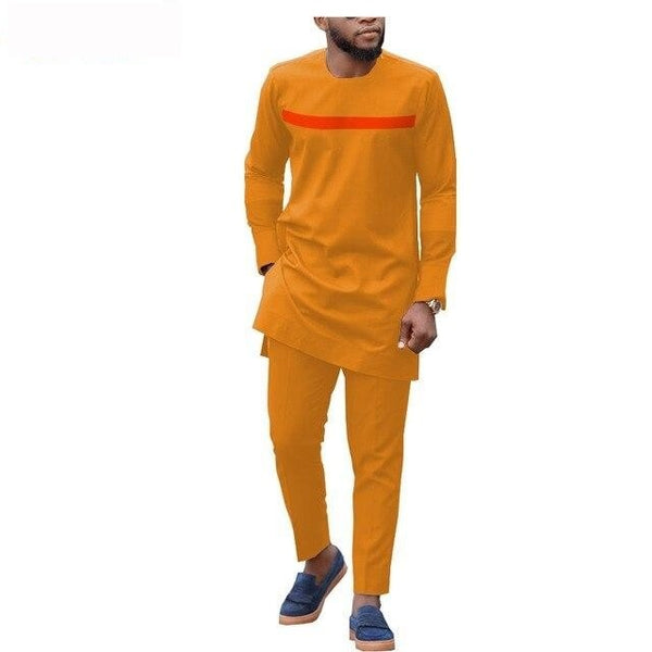 African Men Clothing Long Sleeve 2-Piece Set Senator Style Y31863