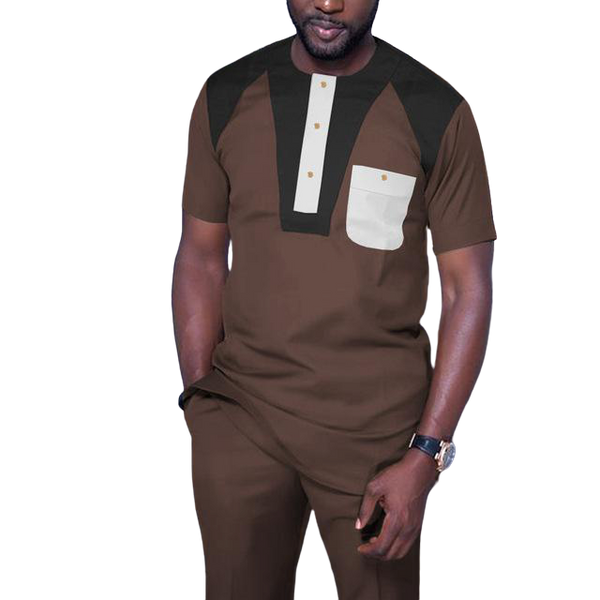African Clothing for Men Short Sleeve 2-Piece Set Senator Style Y31862