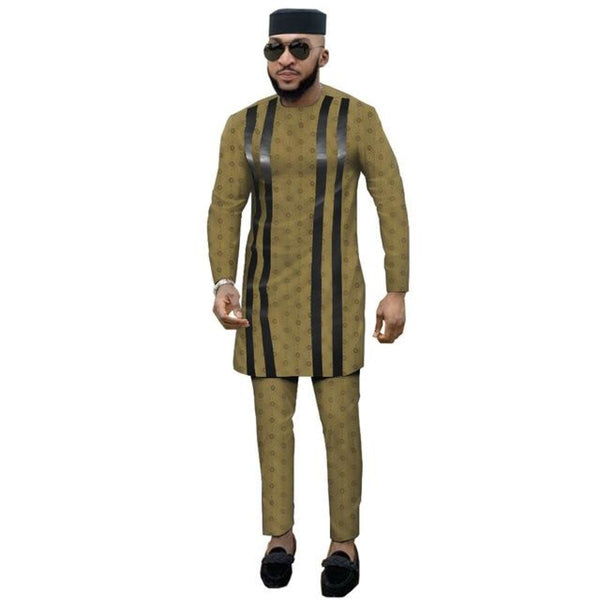 Dashiki African Men Long-Sleeve Senator Style Jacquard Cotton Patchwork 2pc Set Y31902