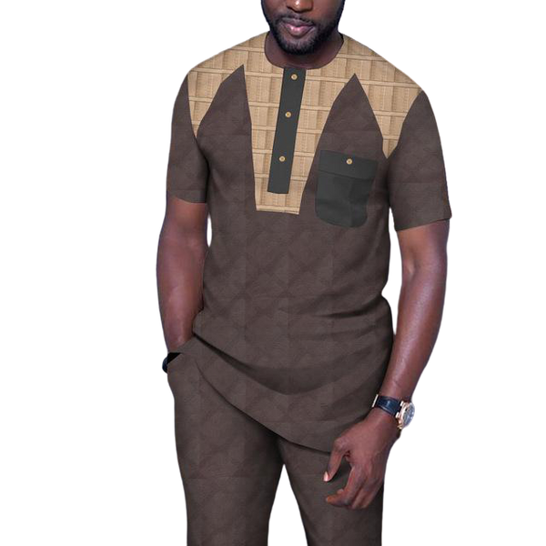 Dashiki African Men Short-Sleeve Senator Style Jacquard Cotton Patchwork 2pc Set Y31901