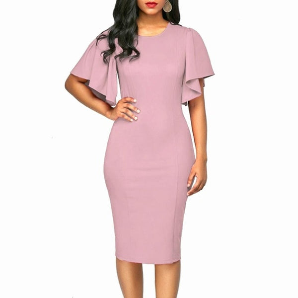 Women Retro Ruffles Sleeve Slim Pencil Dress Office Ladies Plus Size 5XL Solid Color Sheath Casual Work Business Party Dresses