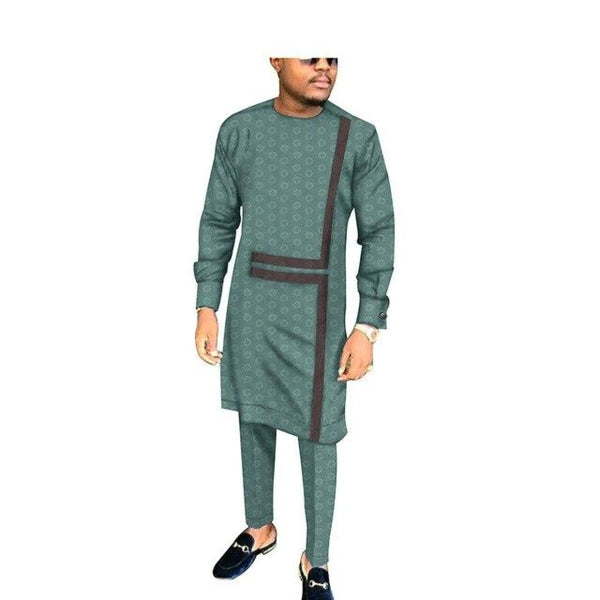 African Men Jacquard Long Sleeve Senator Design Top With Pants Set Y32036
