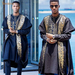 African Men Clothing 3-Piece Dashiki Bazin Agabda Boubou Y31942