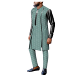 Dashiki African Men Long-Sleeve Senator Jacquard Cotton  Shirt Pants Set Y31896