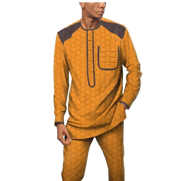 African Men Jacquard Senator Long Sleeve Top With Pants Suit Set Y31905