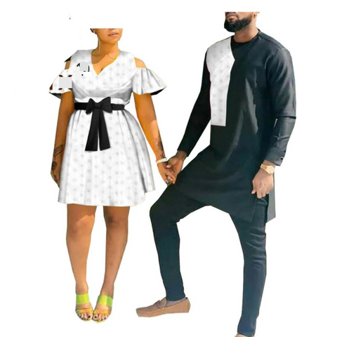 African Couple Style Jacquard Senator Style for man with matching Woman Dress V31916