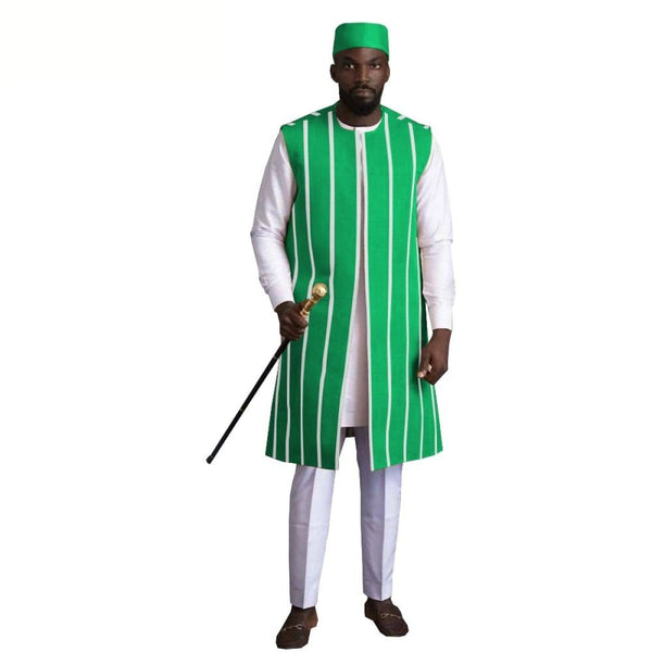 African Men 4-Piece Set Short Sleeve Top Pants With Coat and hat Y31888