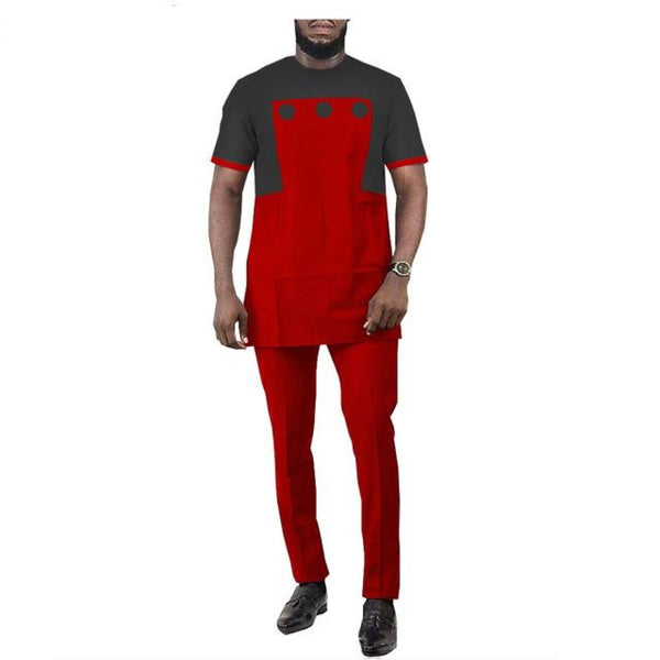 African Clothing for Men Short Sleeve 2-Piece Set Senator  Design Y31860