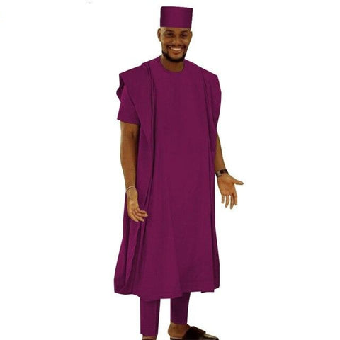 African Style 4-Pc Short Sleeve Shirt Pants Outer Robe and Matching Hat Y31854