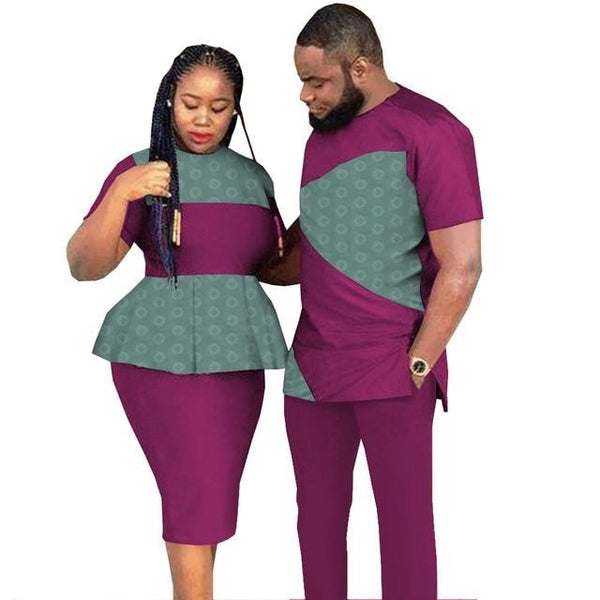 African Couple Style Jacquard Senator Style for man and Matching Woman Skirt and Blouse  V31914