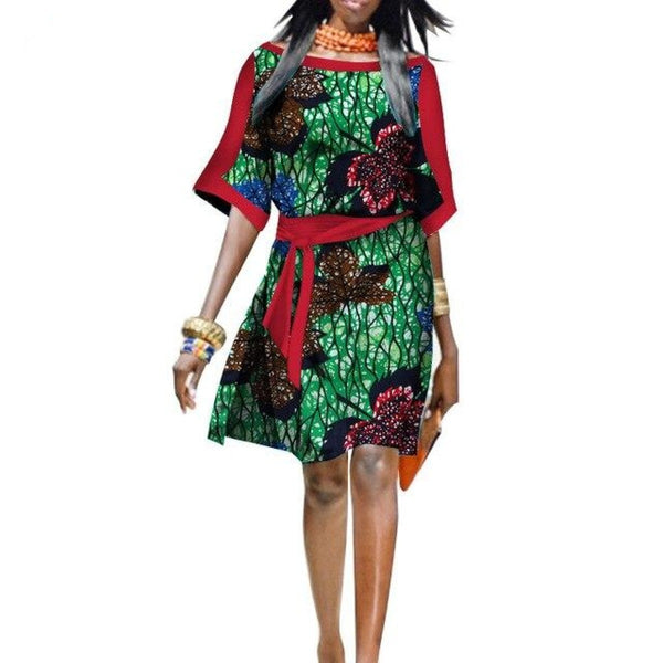 African Cotton Dashiki Wax Print Pattern Ankara Half-Sleeve Dress for Women X11963