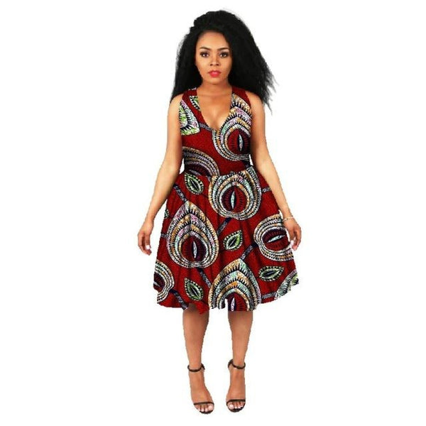 African Cotton Dashiki Wax Print Pattern Ankara Sleeveless Dress for Women X11951