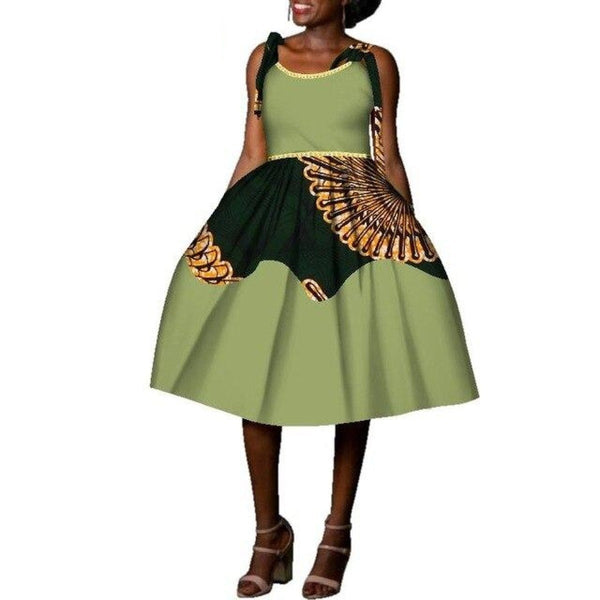 African Cotton Dashiki Wax Print Pattern Ankara Sleeveless Tie-Shoulder Dress for Women X11984