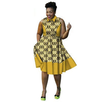 African Cotton Dashiki Wax Print Pattern Ankara A-Line Knee Length Dress for Women X11978