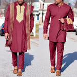Embroidered Agbada Suit For Men Dashiki 3 Piece Boubou shirt pants cover-robe Y31943