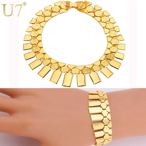 Trendy African Women Bracelet Gold Silver Color Fashion Jewelry Q50197