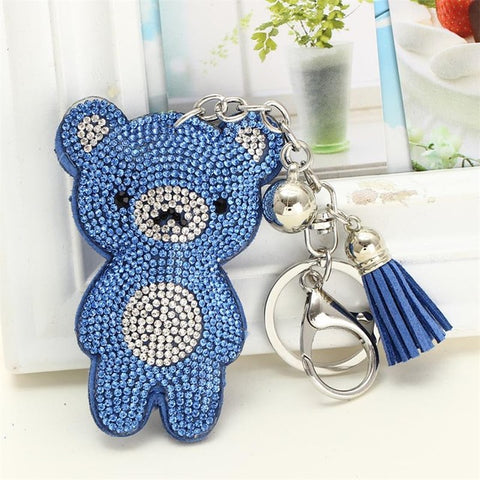 Minhin Brand Design Crystal Rhinestone Bear Shape Key Chains Silver Q50159