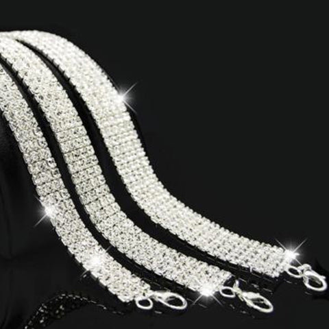 Bridal Wedding Party Prom Multi-Row Stretch Rhinestone Choker Necklace Q50185