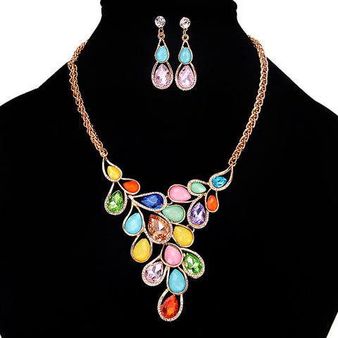 European and American Fashion All-Match Drop Pendant Necklace Set Leaves Q50188