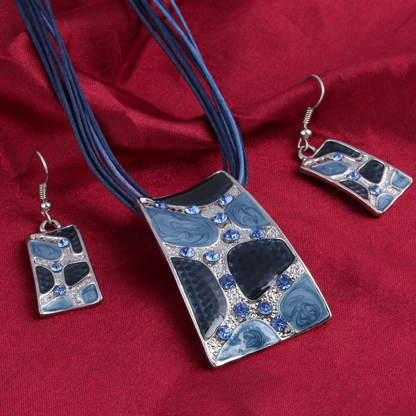 Minhin Blue Geometry Shape Pendant Necklace Earring Sets Multi Ropes Q50167