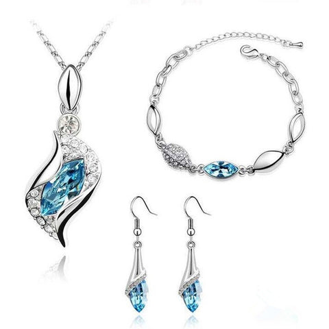 Minhin Elegant Luxury Design Silver Plated Multi Colors Austrian Crystal Q50160