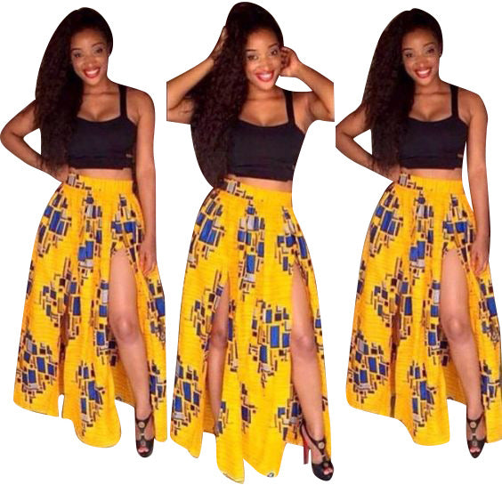 New Two Pieces Vintage African Style Long Print Dresses Spaghetti X40339
