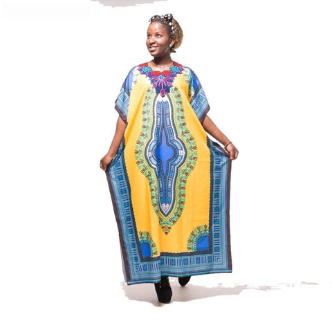 Fashion Women Traditional African Print Beach Yellow Blue Dashiki Boho X40317