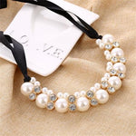 Minhin Imitation Pearl Chokers Necklace White/Black Beads Rhinestone Q50152