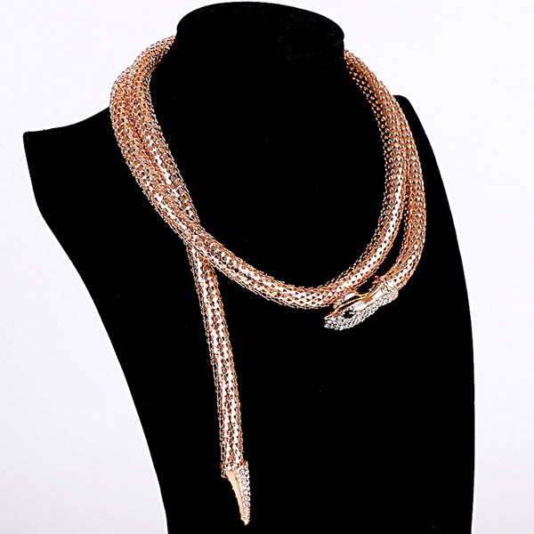 Real Collares Maxi Necklace High Quality Gold/Silver Plated Snake Q50145