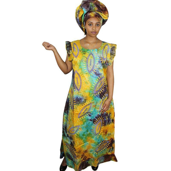African Clothing For Women New Bazin Riche Embroidery Long Dress X21206