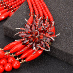 Nigerian Wedding Indian Jewelry Women Crystal Flower Statement  Q50216