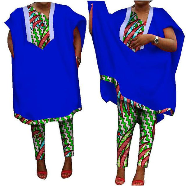 Traditional African Clothing Women Pants Suit Dashiki Print Robes Short Y10903
