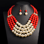 Multi Simulated Pearl Necklace Top Quality Bohemian Customs Collar Bridal Q50220