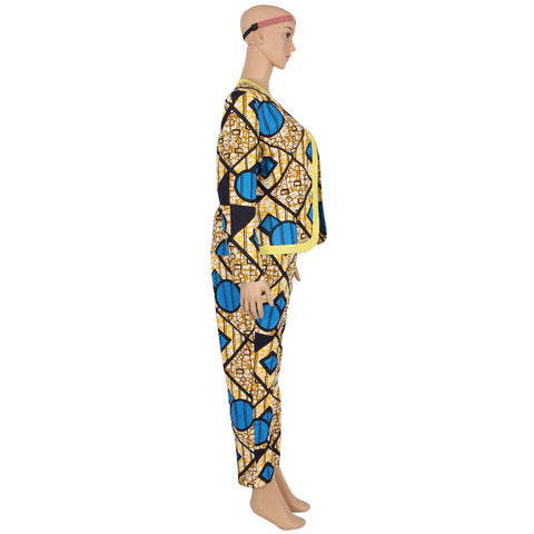 Cotton Wax Prom Dress Africa Dashiki Women Crop Top and Pants Set X10692