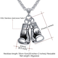 Men Necklace Gold Color Stainless Steel Chain Pair Boxing Glove Pendant Q50130