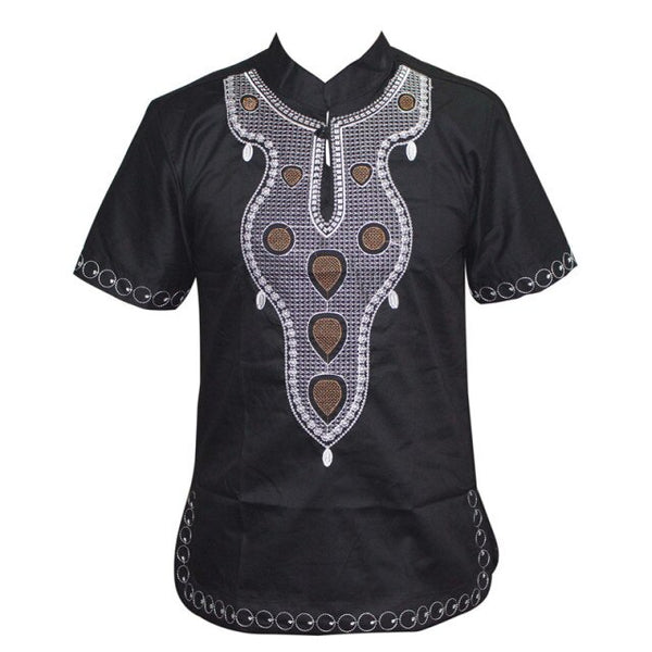 African Men Mali Embroidery Casual turtleneck T-Shirt Top Y20464