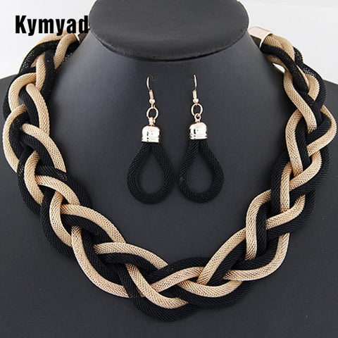 Collier Femme Geometric Statement Jewelry Sets Braided Twist 8 Colors Q50211