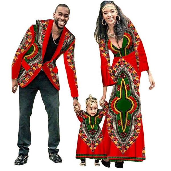 New Fashion Matching Clothes Brand Father Mother and Son Baby Africa V11592