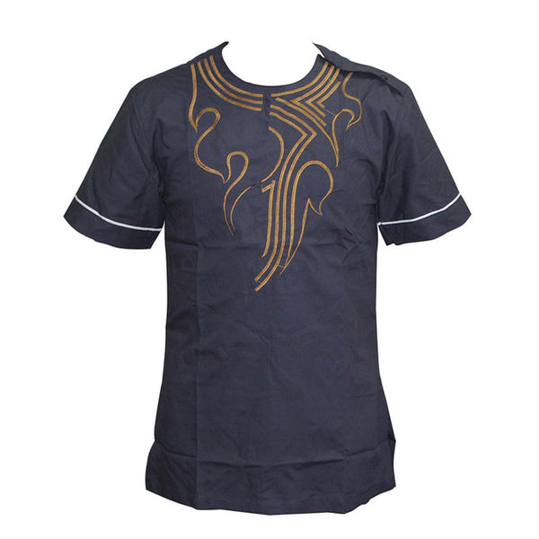 Casual Pan-African Vintage Short-sleeve O-NeckSlim T-Shirt Y20459