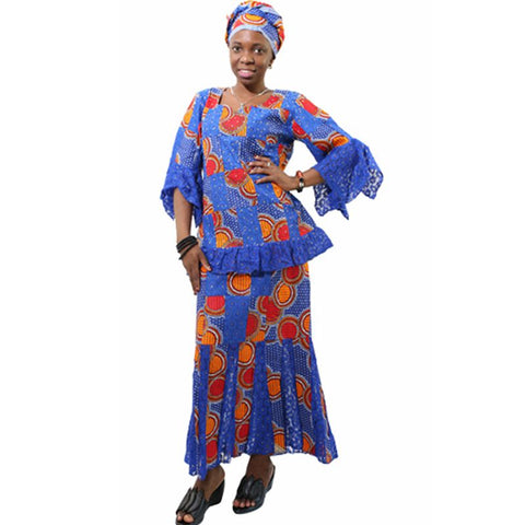 African Style Top and Long Skirt For Women Cotton Print Dashiki Custom X11060