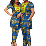 African Print Bazin Riche Top and Pants Sets For Couple V11712