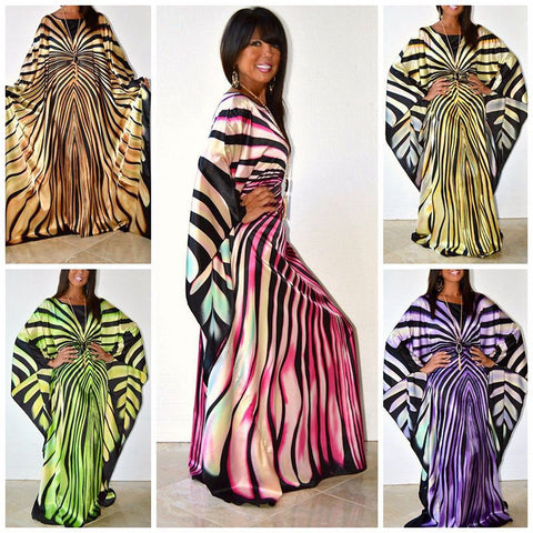 African Dresses For Women Dashiki Clothes Zebra Stripe Casual X40320