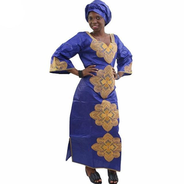 African Clothing Embroidered Dashiki Long Dress Cotton Bazin Caftan  X21312