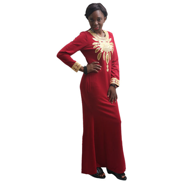 African Dresses For Women Winter Dress Long Sleeve Embroidery Robe X21180
