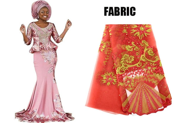 African Dress for Women Embroidered Bazin Riche Lace Top and X30910